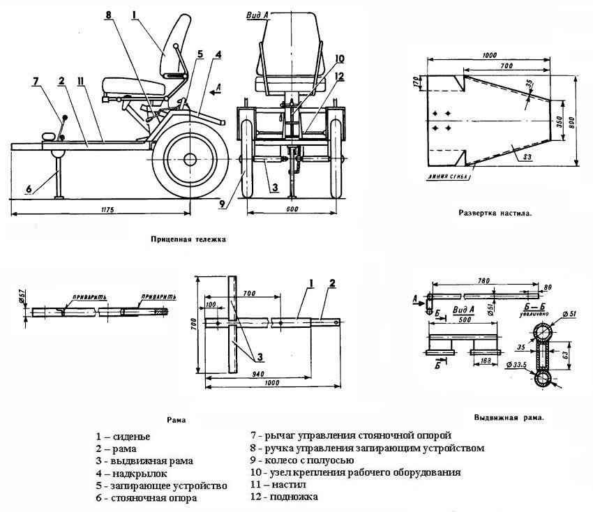 Схема для адаптера к мотоблоку
