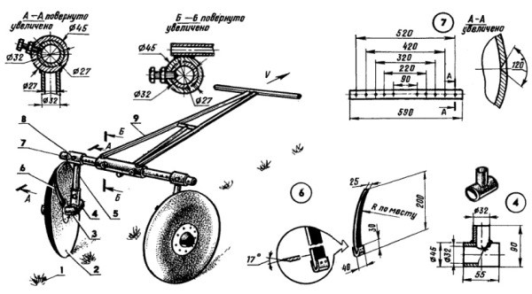 чертеж схема на самодельный окучник для мотоблока