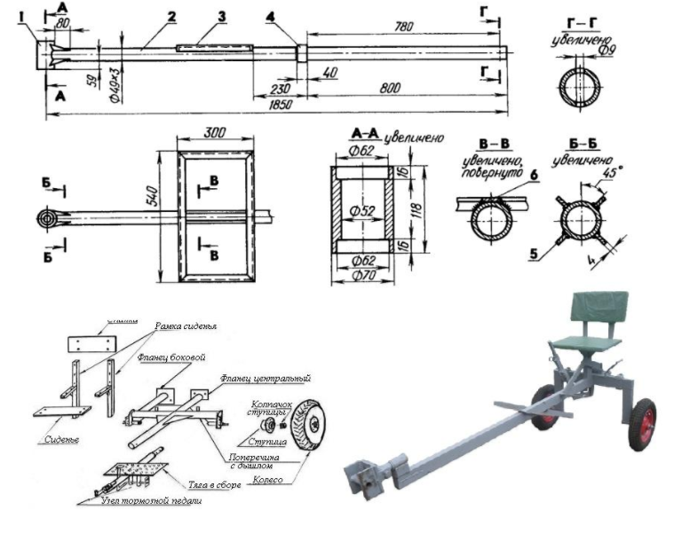 чертеж и размеры адаптера для мотоблока