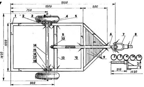 схема адаптера к мотоблоку