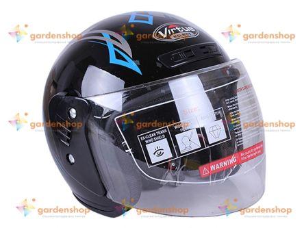Шлем MD-В201 (открытый) черный с синим - VIRTUE цена- Фото №1